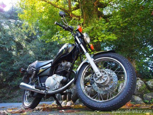 バイクとイチョウの黄葉