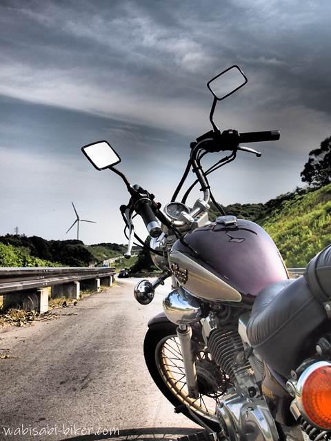 オートバイと風力発電機