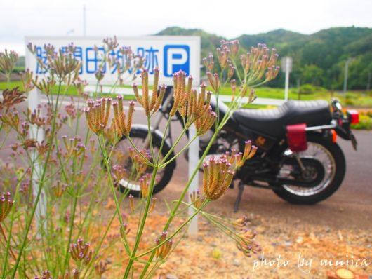 SR125と勝間田城跡の看板