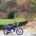 洞穴とバイクのある風景☆YAMAHA SR125