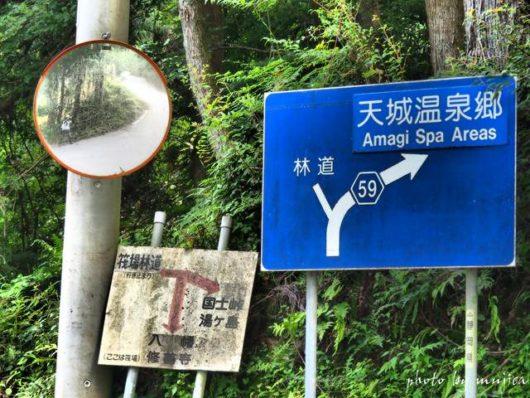 カーブにある道路案内標識