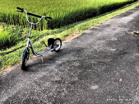 水田とキックスクーターのある風景