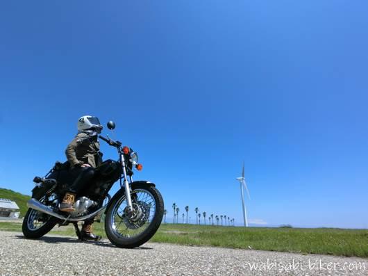 御前崎でバイクと自撮り