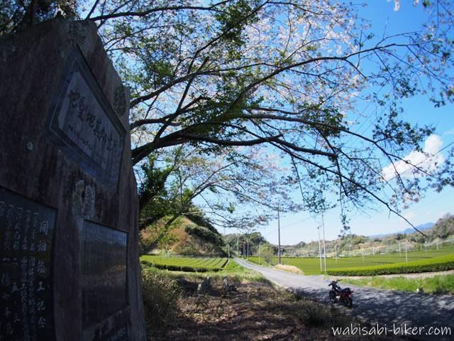 お茶の記念碑と桜とオートバイ