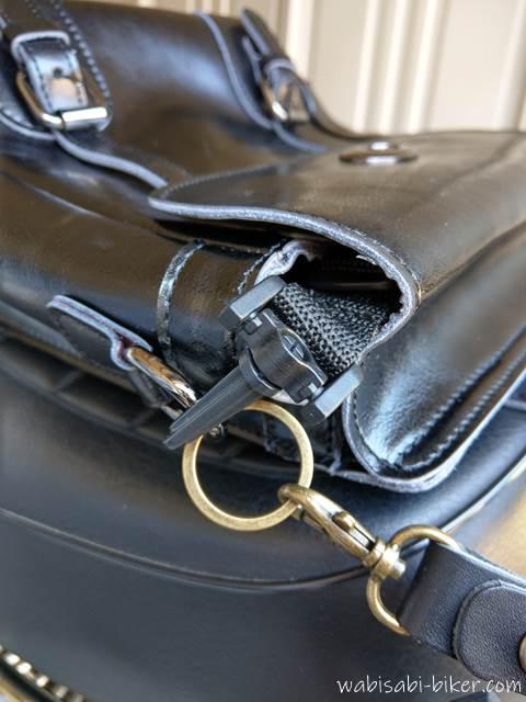 バイク用バッグに付けたキーリングごショルダーストラップ