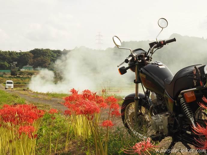 バイクと彼岸花と煙
