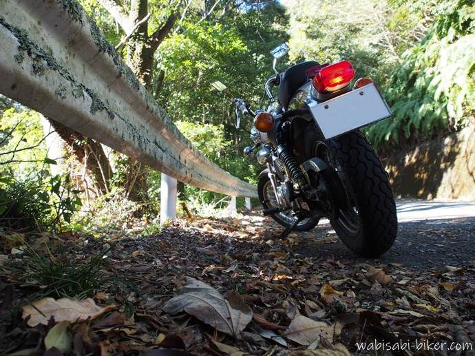 山道沿いのオートバイ