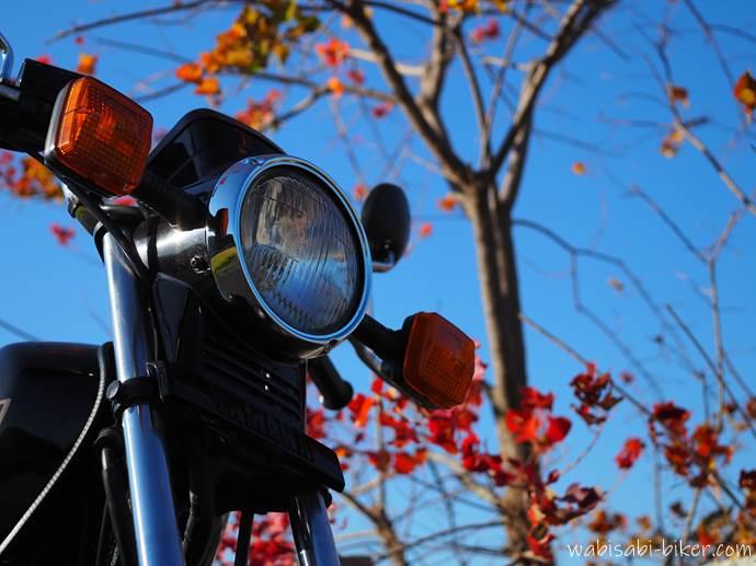 紅葉とオートバイ