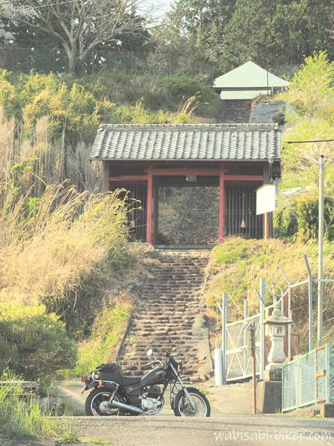 最明寺とバイク