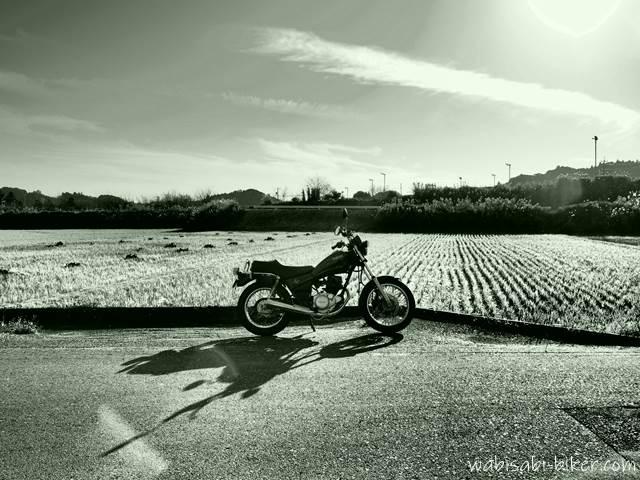 冬の田んぼとバイク