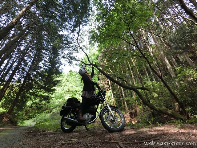 林道に停車するオートバイと女性ライダー