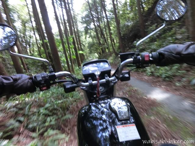 林道を走るオートバイ