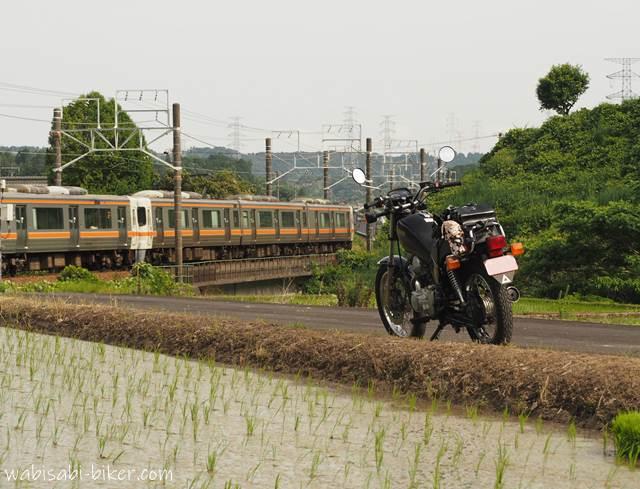 オートバイと電車と水田