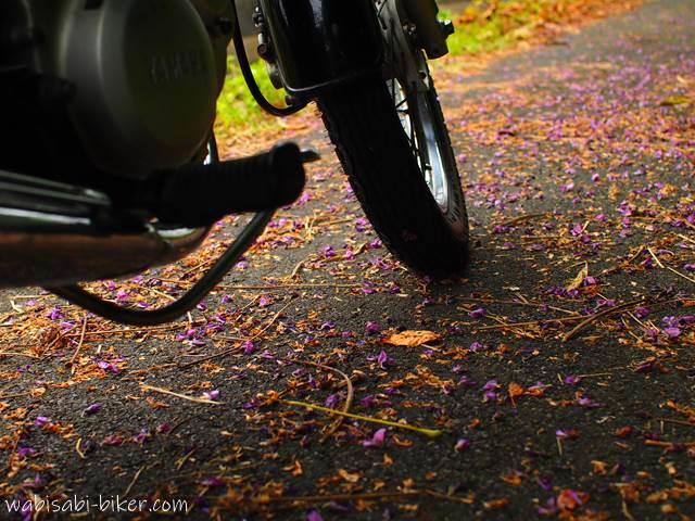 落花したクズの花びらとオートバイ