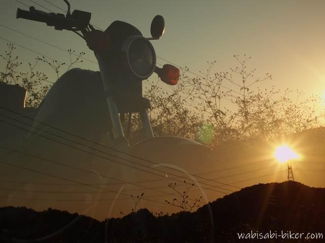 ひっつき虫と夕陽とオートバイ