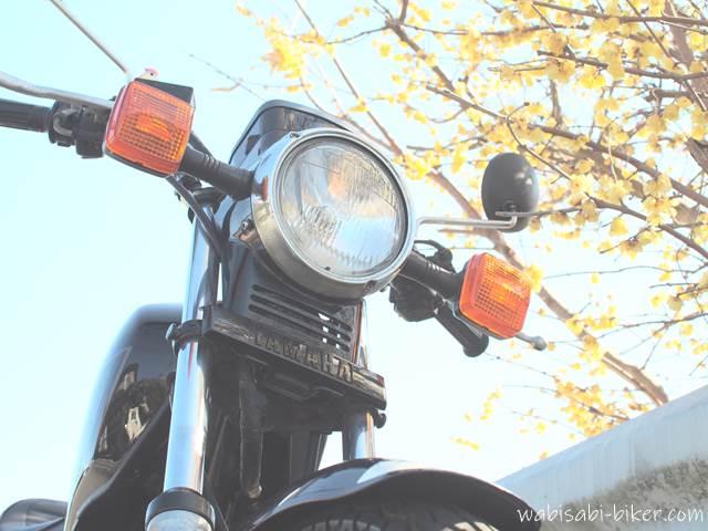 バイク写真 ロウバイとオートバイ