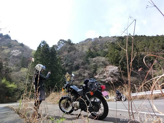 山道とオートバイ 自撮り