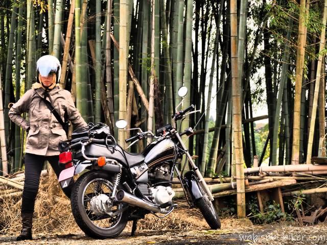 竹林とオートバイと女性ライダー