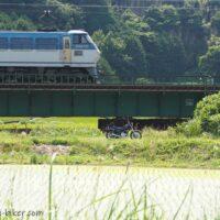 橋梁を通過する貨物列車とオートバイ