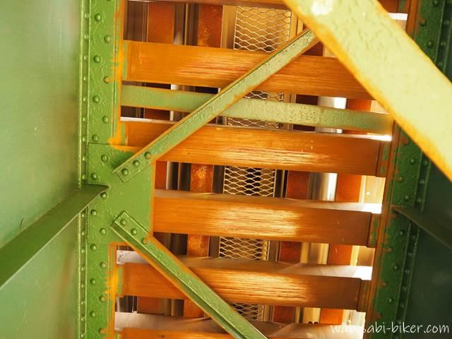 真下から見る電車通過中の橋梁